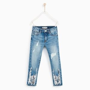 Zara girls ripped jeans with sequins
